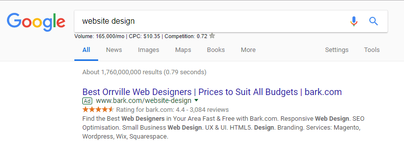 Ad for website design