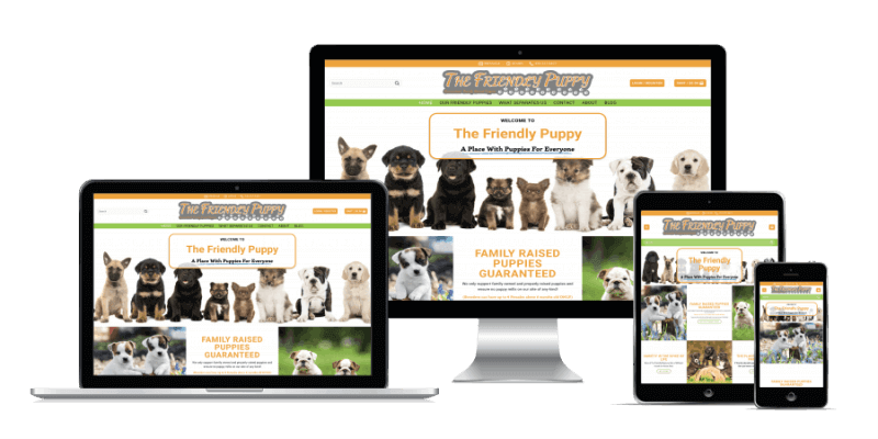 The Friendly Puppy Screen Size Display